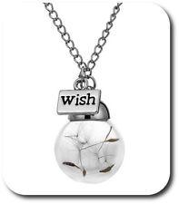 Halskette 3D Glücksbringer Löwenzahn Pusteblume Set Kette + Anhänger Glück Glas