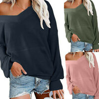 Women's Ladies V Neck Long Sleeve Waffle Knit Top Off Shoulder Pullover Sweater