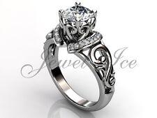 Platinum Unique Forever One Moissanite Filigree Scroll Engagement Ring ERMZ-1124