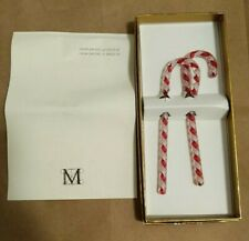The Metropolitan Museum of Art Red & White Glass Candy Cane Christmas Ornaments