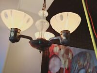 VINTAGE ART DECO 3 LIGHT SLIP SHADE GLASS CHANDELIER