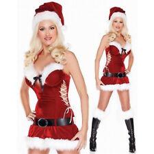 TAILLE UNIQUE 8 - 12 Femme Sexy Rouge Blanc Père Noël Mini Robe Costume Set