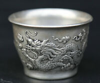 "2.2"" Chinese Miao Silver Hand Carving 12 Zodiac Auspicious Dragon Teacup Winecup"