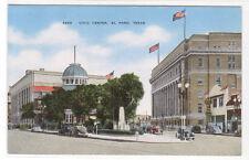 Civic Center El Paso Texas linen postcard