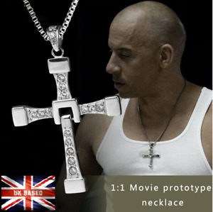 Silver Cross Chain Necklace Fast Furious Dominic Toretto Pendant Jewelry Gift UK