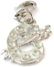 SILVER PAINT PALLETE & BRUSHES CLIP ON CHARM FOR BRACELET -TIBET SILVER-FREE P&P