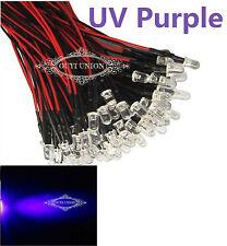 Bulk  Pre Wired 10mm Bright UV Purple LEDs Bulb 20cm Prewired 12V LED Lamp  X500
