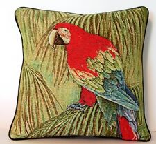Tropical Bird- Red And Green Winged Macaw Tapestry Pillow New!
