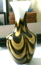 V. B. Opaline Florence Italy Large 26 cm White Brown Coffee Marbled Swirl Vase
