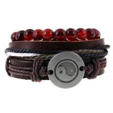 Black Men Women Tai Chi Leather Bangle Beaded Cuff Wristband Bracelet 4pc Set