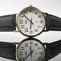 TIMEX Watch Mens Indiglo Easy Read Black Leather Band Gold Tone Round Analog