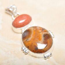 "Handmade Natural Ocean Jasper Gemstone 925 Sterling Silver Pendant 2"" #P14199"