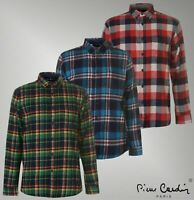 Mens Branded Pierre Cardin Regular Chest Pockets Long Sleeve Check Shirt S-XXL