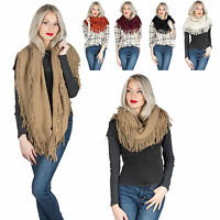 Winter Warm Women Tassel Circle Cable Knit Crochet Cowl Infinity Scarf Wrap