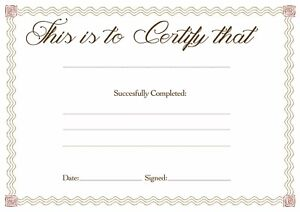 6 x Blank Award Certificates, 'This is to Certify that.....' A4 High Quality