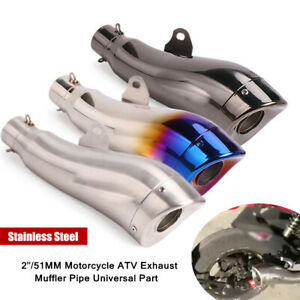 2inch/51MM Stainless Steel Motorcycle ATV Exhaust Muffler Pipe Universal Durable