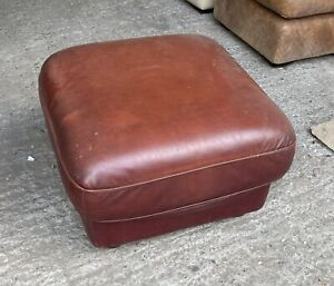 Reddish brown Leather footstool Pouffe UK DELIVERY AVAILABLE