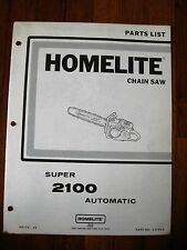 Homelite Super 2100 Automatic Chain Saw Parts list