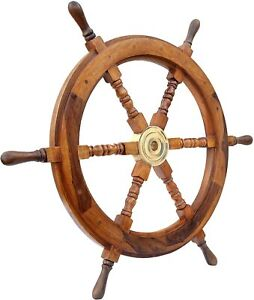 Nautical Home 24 Inch Wooden Ship Wheel Vintage Wall Decor Handcrafted Gift