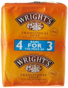 1 x 4 Wright's Traditional Soap with Coal Tar Fragrance, Pack of 4 Units