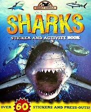 Sharks Book Sticker Activity, Deadly Animals, Children's Book, Pressouts, New