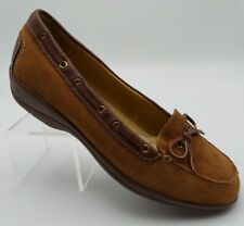 New SOFTSPOTS Sz 9.5WW Brown Suede Leather Slip On Shoes Padded Insole COMFORT