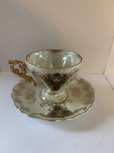 Royal Sealy China Japan Tea Cup and saucer pedestal, Black/ Gold Iridasent