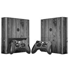 Xbox 360 E Skin Design Foils Sticker Screen Protector Set - Gray Wood Motif