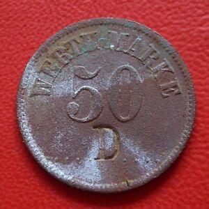 """50er Token Coin With Countermark """" D """" / War Money/Emergency Money / Städtegeld"""
