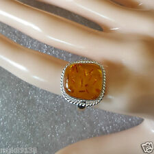 Pressed Amber sz 7  Sterling Silver Cocktail Ring