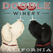 DOG ART PRINT Doodle Wine by Ryan Fowler Vintage Winery Labradoodle Poster 27x27
