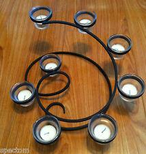 "Sculptural Metal Tea Light Candle 17"" Versatile Centerpiece  8 Glass Cups   EUC"