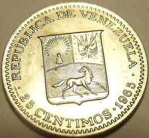 Gem Uncirculated Venezuela 1965-I 25 Centimos~Head Of Bolivar