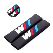 2 x Carbon Fibre Looking Logo Seatbelt Cover Pads for BMW M135i M2 M3 M4 M5