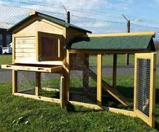 RABBIT HUTCH GUINEA PIG HUTCHES RUN RUNS 2 TIER DOUBLE DECKER CAGE NATURAL