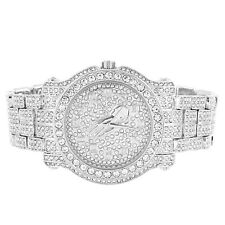 6cab55e9bc03f Mens Iced Out Silver Finish Prayer Hands Micro Pave Accented Face Custom  Watch