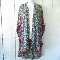 New Gigio By Umgee Kimono L Large Floral Mixed Print Tassel Trim Boho Peasant