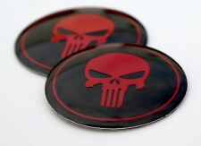 2x DOME SHAPE 3D Metal Red Punisher Skull Sticker Decal Emblem 2.2""