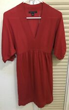Banana Republic Orange Sweater Wool Blend Dress Short Sleeve Knee Length Size XS