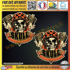 2 Stickers Autocollant adhésif skull Harley live to ride, ride to live casque