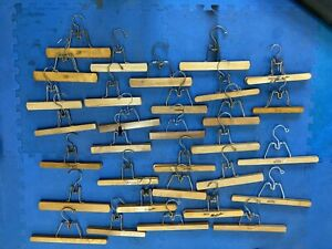 Lot of 31 Vintage Wooden Clamp Hangers for Pants Skirts Setwell Sears Nevco