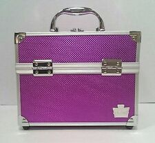 Caboodles Purple Train Case Cosmetic Case With Two Cantilever Trays
