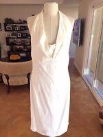 Auth GIANFRANCO FERRE White Linen Open Back Below Knee Dress Sz 46 Italy