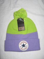 BNWT - CONVERSE All Star Bobble Beanie Hat  Frozen Lilac  Lime Green    Medium