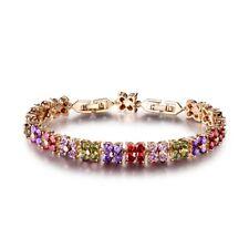 Gf Flower Link Bracelet For Women Stunning Multi-Color Sapphire Crystal 18K Gold