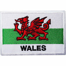 Wales Flag Embroidered Iron / Sew on Patch Welsh Dragon Rugby UK Shirt Bag Badge