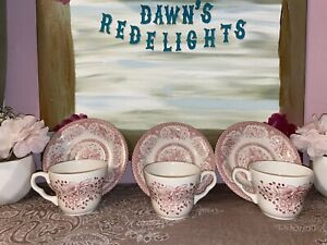 English Ironstone EIT Tableware Kew Pink Pink Rose w/Lattice Edge Cup & Saucer