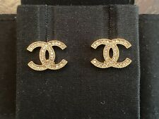 Authentic Classic Chanel CC Logo Crystal Gold Tone Crystal Earrings Studs