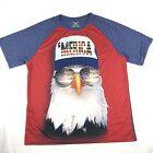 Faded Glory 'Merica T Shirt Bald Eagle Patriotic Tee Shirt Mens Sz L 4th of July