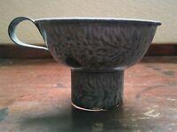 "Antique 4 1/8"" wide Canning Funnel Graniteware Enamled Gray Swirl"